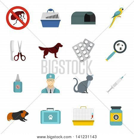 Flat veterinary icons set. Universal veterinary icons to use for web and mobile UI, set of basic veterinary elements isolated vector illustration