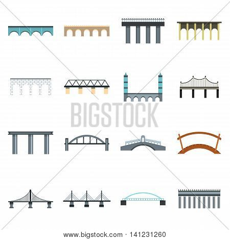 Flat bridge icons set. Universal bridge icons to use for web and mobile UI, set of basic bridge elements isolated vector illustration
