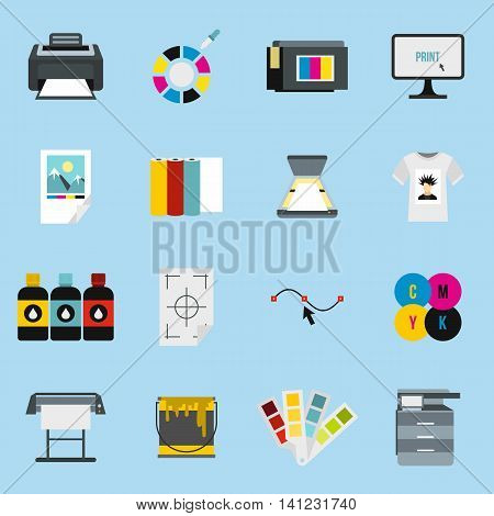 Flat printing icons set. Universal printing icons to use for web and mobile UI, set of basic printing elements isolated vector illustration