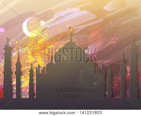 Eid Mubarak. Eid al-Fitr muslim traditional holiday. Muslim Festival celebration. Abstract watercolor background with silhouette mosque. Editable vector illustration for greeting card, poster, flyer