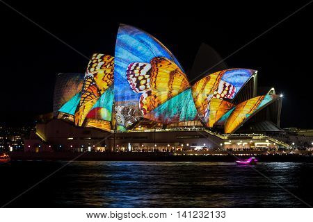 SYDNEY, AUSTRALIA - JUNE 7, 2014: Sydney Opera House during Vivid Sydney festival. Vivid Sydney is an outdoor annual cultural event featuring immersive light installations and projections.