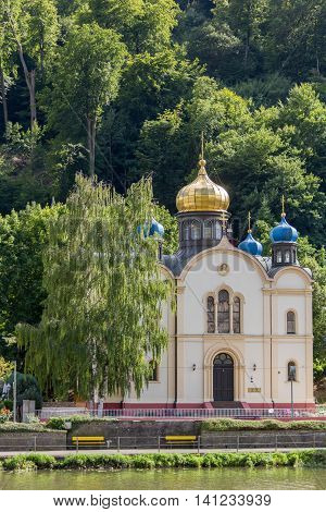 Russian Orthodox Church in the spa town of Bad Ems on river Lahn in Germany