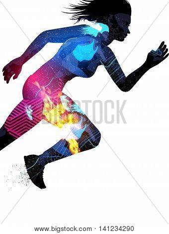 Double exposure effect vector illustration of a running sports woman with texture effects.