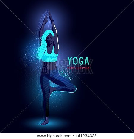 Neon glowing backlit silhouette of a young lady in a yoga position exercising - vector illustration