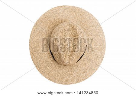 Wicker straw flaxen hat with black ribbon on isolated white background