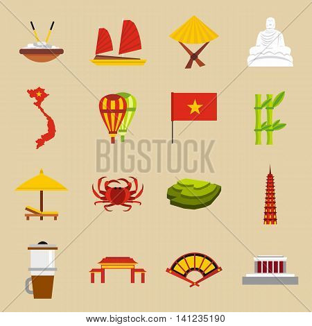 Flat Vietnam icons set. Universal Vietnam icons to use for web and mobile UI, set of basic Vietnam elements isolated vector illustration