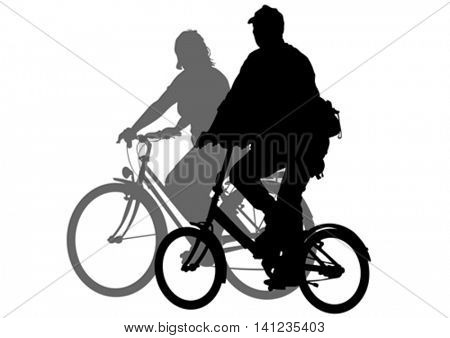 Sport couples whit bike on white background