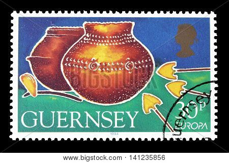 GUERNSEY - CIRCA 1994 : Cancelled postage stamp printed by Guernsey, that shows Pots.