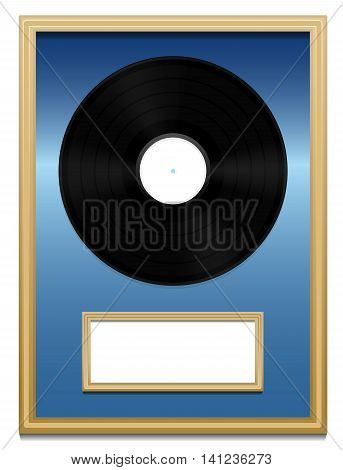 Vinyl record - Music award with unlabeled plaque in a golden frame on blue ground.