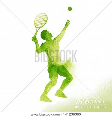 Active male Tennis player about to hit a tennis ball for serve - Watercolour vector illustration.