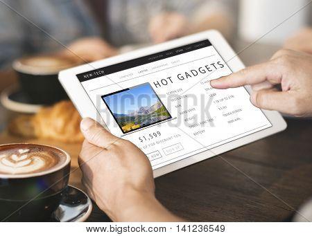 Hot Gadgets Shopping Online Internet Website Concept
