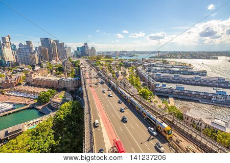 Sydney highway and subway, Australia. View from the Pylon Lookout located the southern eastern end of the Sydney Harbour Bridge.