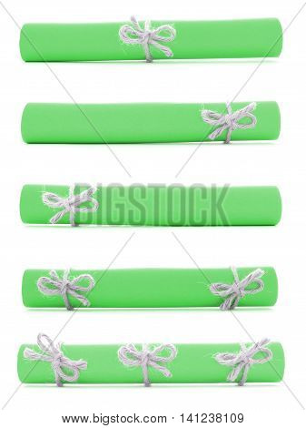 Green paper rolls tied with handmade cords and knots collection