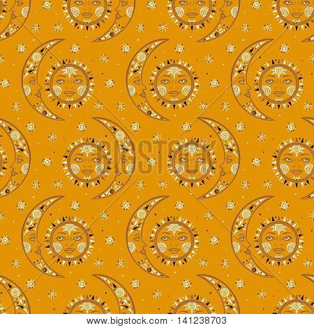 Vector seamless celestial pattern with moons, suns, faces, dots in tribal style and ethnic motif in gold color. Boho chic print hand drawn with small geometric details and elements. Textile design