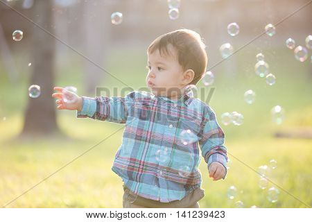 cute boy is catching bubble in the park caucasian