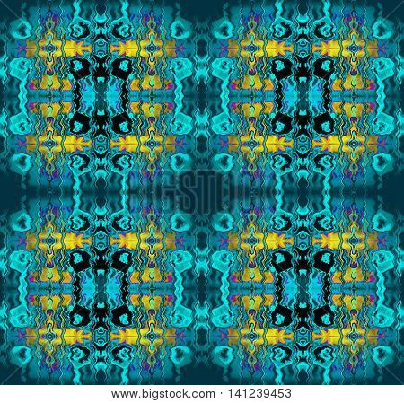 Abstract geometric seamless background. Conspicuous rectangle ornaments with wavy lines, in turquoise shades with yellow, dark gray, purple and black elements.