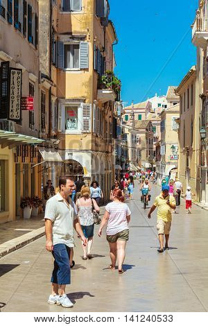 Corfu, Greece - July 7, 2011: Native People And Tourist Walking On The Streets Of Old City