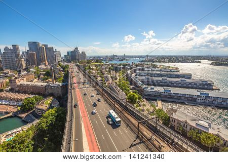 Sydney panorama with highway and subway, Australia. View from the Pylon Lookout located the southern eastern end of the Sydney Harbour Bridge.