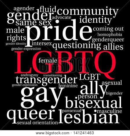 LGBTQ word cloud on a black background.
