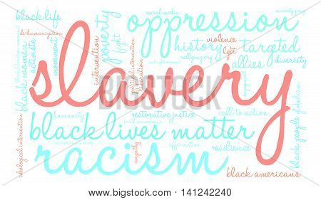 Slavery word cloud on a white background.