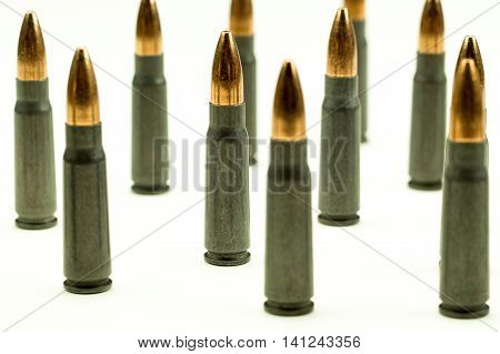 Ak-47 Rifle Cartridge Hollow Point Bullet 7.62x39mm Vertical Standing Ammo Tight Crop