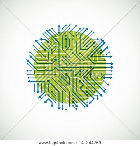 Vector Abstract Technology Illustration With Round Green And Blue Circuit Board. High Tech Circular