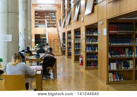 Books On The Shelves Of The Library Of University Of Thessaloniki