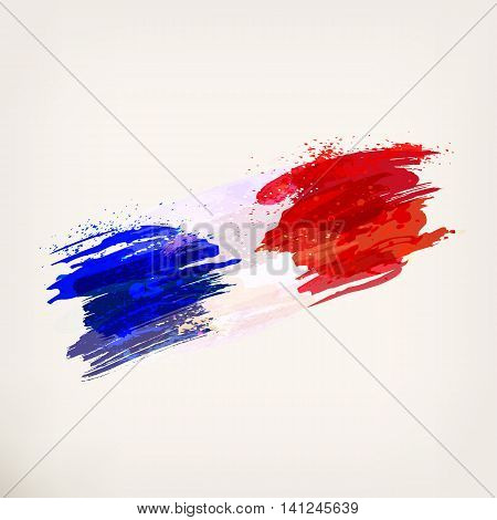 French hand drawn national flag. Watercolor background ink stains tricolor. Vector illustration