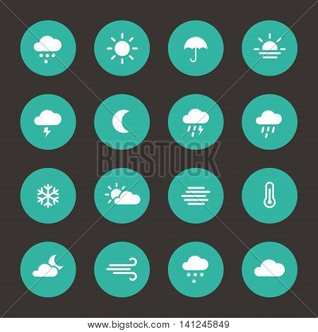 Weather forcast flat icons in circle shape. Vector collection of signs.