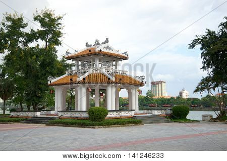 HUE, VIETNAM - DECEMBER 15, 2015: Gazebo pagoda in city Park. Religious landmark  of the city Hue, Vietnam