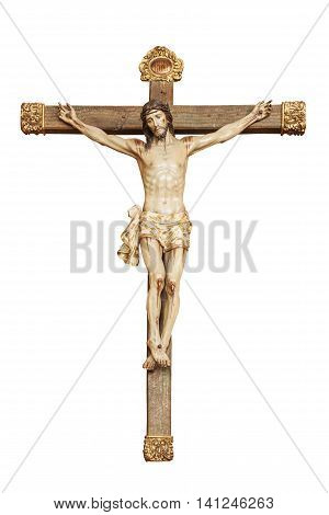 A small sculpture of Jesus Christ crucified