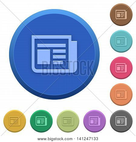 Set of round color embossed news buttons