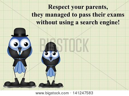 Comical respect your parents as they passed their exams without using a search engine on graph paper background with copy space for own text