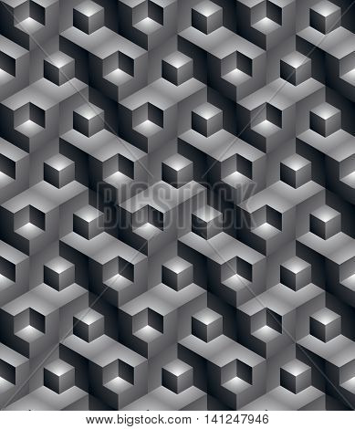 Monochrome illusive abstract geometric seamless pattern with 3d cubes.