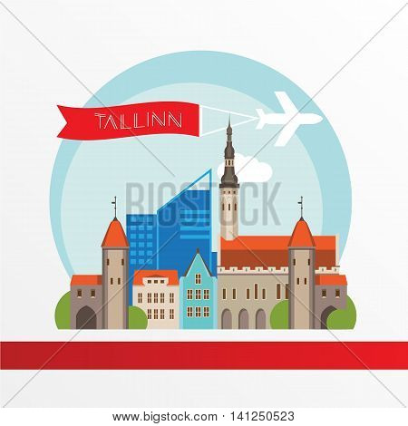 Tallin Estonia detailed silhouette. Trendy vector illustration, flat style. Stylish colorful landmarks. The concept for a web banner.