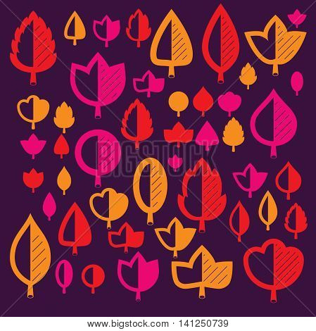 Autumn tree leaves botany and eco flat images. Vector illustration of herbs collection of natural and ecology elements can be used in web design.