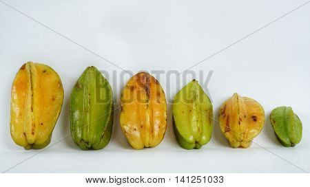 Star Fruit. Isolated Six Different Carambola Starfruits.