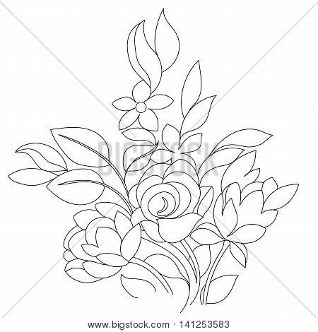 Black and white bouquet of hand drawn flowers, graphical flowers, vintage flowers, greeting flowers, black flowers, bouquet flowers, decorative flowers, lace flowers, blossom flowers. Vector.