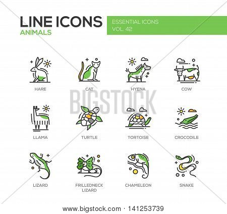 Animals - set of modern vector line design icons and pictograms of animals. Hare, cat, hyena, cow, llama, turtle, tortoise, crocodile, lizard, frilledneck lizard chameleon snake