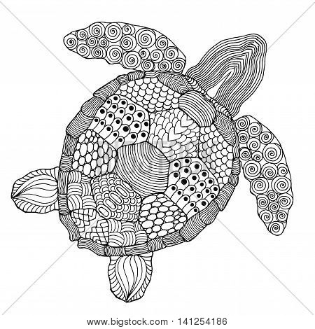 Cute turtle. Black white hand drawn doodle. Ethnic patterned vector illustration. African indian totem tribal design. Sketch for adult antistress coloring page tattoo poster print t-shirt
