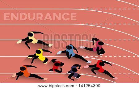 Endurance. Vector Illustration Of Racing Athletes Symbolizing Endurance