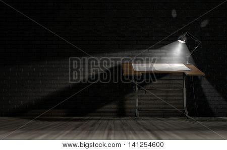 Vintage Desk & Lamp