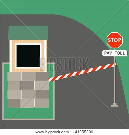 Toll booth with stop sign. Vector illustration of traffic checkpoint security control roads