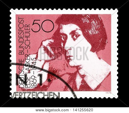 GERMANY- CIRCA 1975 : Cancelled postage stamp printed by Germany, that shows Else Lasker.