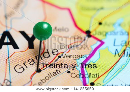 Treinta-y-Tres pinned on a map of Uruguay