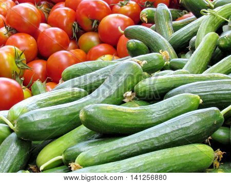 Cucumbers and tomatoes on bazaar in Tel Aviv Israel