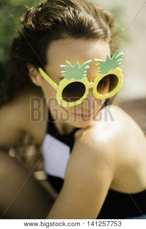 portrait of young woman on the beach, selective focus
