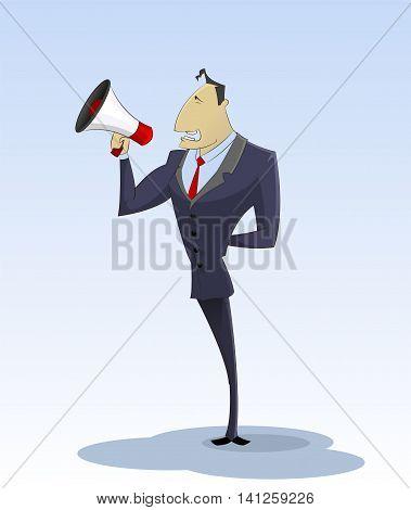 Cartoon businessman with megaphone Business speaker advertising recruitment concept. Vector