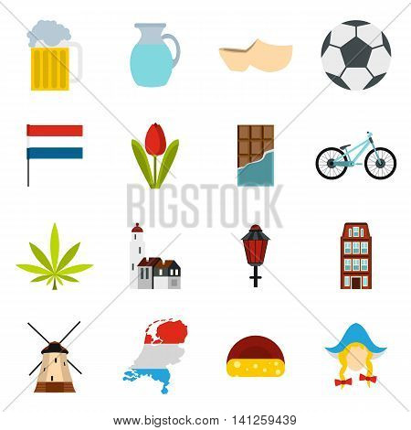 Flat Netherlands icons set. Universal Netherlands icons to use for web and mobile UI, set of basic Netherlands elements isolated vector illustration