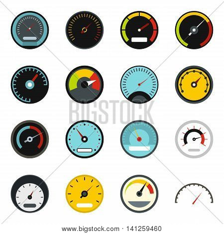 Flat speedometer icons set. Universal speedometer icons to use for web and mobile UI, set of basic speedometer elements isolated vector illustration